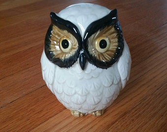 Vintage Ceramic Owl Bank Handpainted