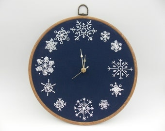 Snowflake Embroidery Wall Clock