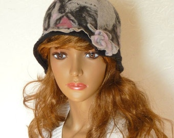 Felt hat, Cloche, Black pink gray, Felt handmade, Hat with small brims, Wool cap, Hat merino wool, Winter, Autumn, Made of felt