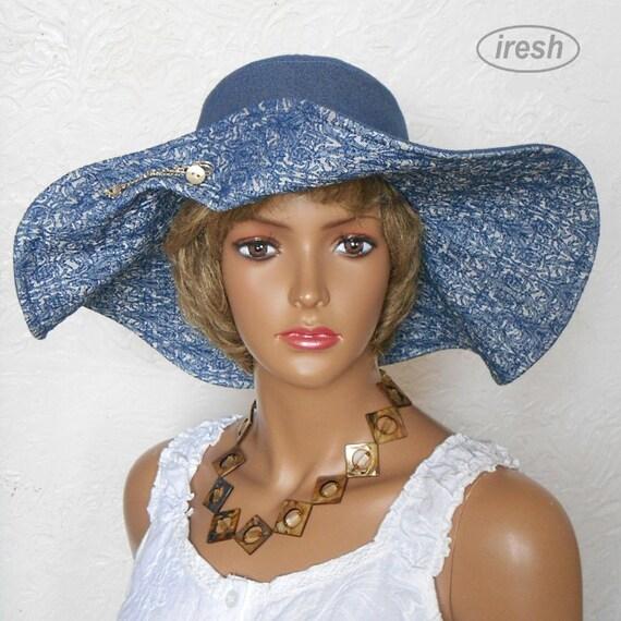 Wide brim hat Denim hat Blue hat Stylish hat Summer hat