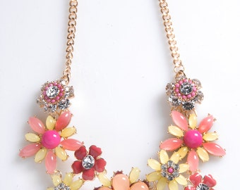 Pink and Yellow Statement Necklace, Flower Necklace, Statement Necklace, Chunky Necklace, Spring Floral Necklace, Floral Necklace
