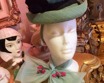 Darling Vintage flapper 1930s aqua net necktie jabot collar scarf with bright pink rosettes