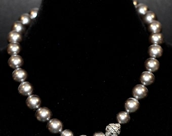 Faux Pearl Necklace w/ Accent