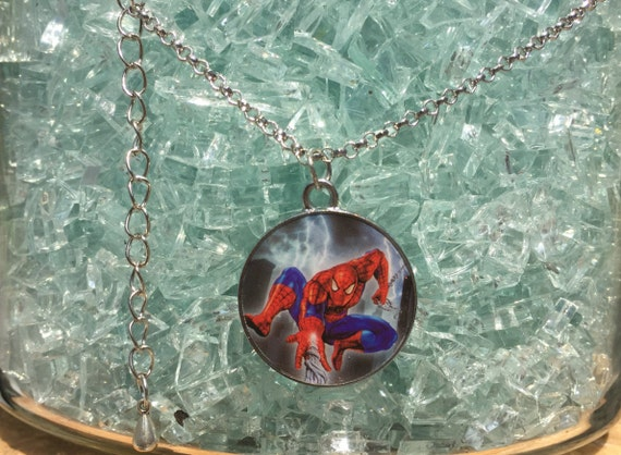 Spiderman Antique Silver Pendant and Necklace