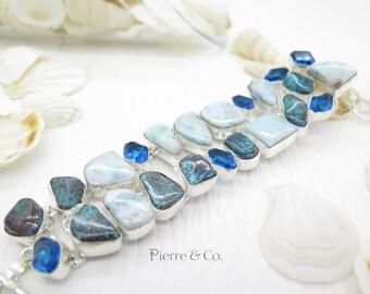 Larimar Turquoise Blue Topaz Sterling Silver Bracelet