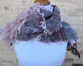 Handwoven Freestyle Pink & Black Scarf - RESERVED