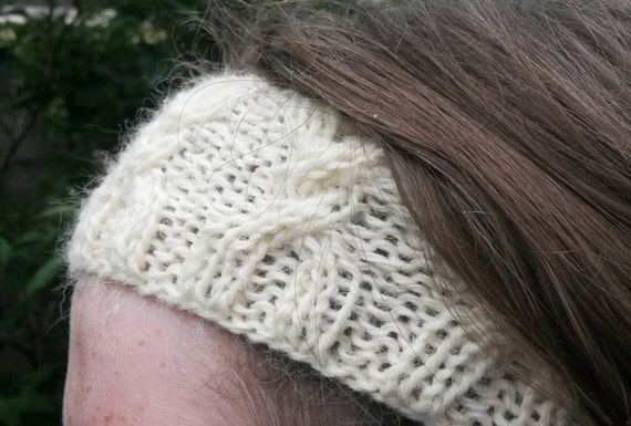 Aran headband hairband neckwarmer; original design; pure wool.  Made in Ireland. Gift for teen. Natural fibres. Gift for girl. Handknit.