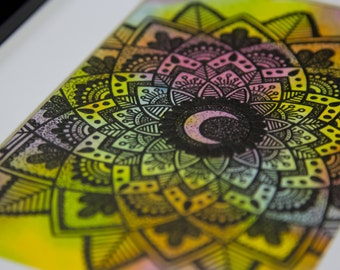Crescent Moon Mandala Original Artwork
