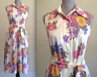 FLASH SALE! Vintage 60s floral sleeveless day dress / tea length / collared button-up tie waist fringe belt