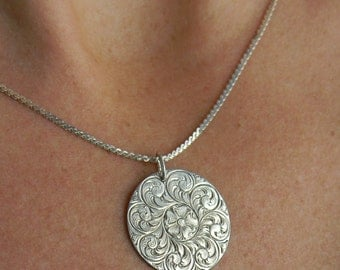 Hand Engraved Sterling Silver Pendant