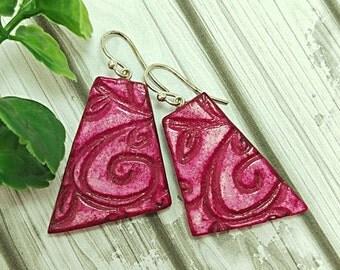 Dangle earrings, Deep pink geometric earrings, Flourish earrings, Leaf earrings, Clay earrings, Drop earrings, Artisan earrings, Organic