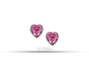 Swarovski Pink Earrings - Heart Shaped Earrings - Swarovski Crystals