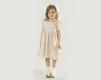 """Girls Floral Print Dress in Sizes 2 to 9 Years -- The """"Cottage Garden"""" Dress in Forget Me Not"""