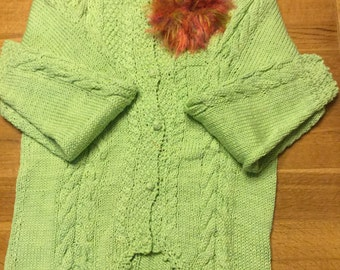 hand knit cotton cardigan in beautiful shade of green with hand crochet buttons.