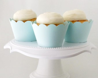 Set of 12 – Pale Blue Cupcake Wrappers – Standard Sized