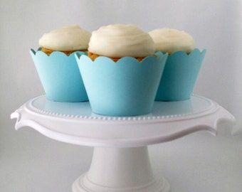 Set of 12 – Light Blue Cupcake Wrappers – Standard Sized - Ready To Ship