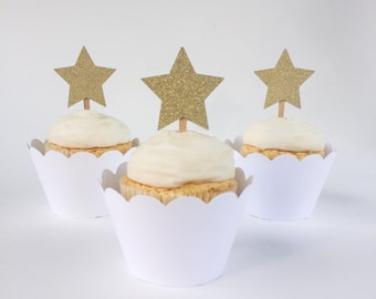 Gold Glitter Star Cupcake Toppers - Set of 12 – Gold Star Food Picks -  Gold Star Cupcake Topper - Ready to Ship
