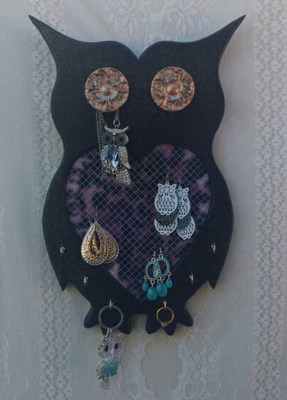 Owl Decor, Owl Jewelry Board, OOAK Owls, Black Owls, Owl Gifts, Purple Leopard Jewelry Board, Owl Gifts for her, Owl Gifts, Unique Owl Gifts