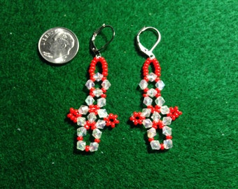 White and red earrings