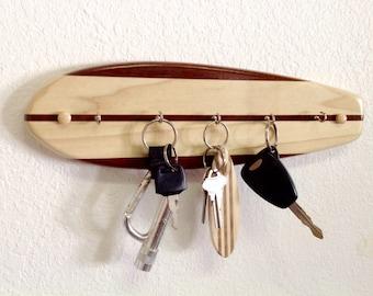 Surfboard Key Holder Rack - Solid Hardwood - 5 Hooks