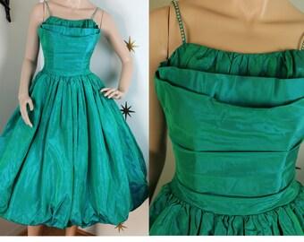 CLEARANCE! Vintage 1950s emerald green sharkskin taffeta irridescent party dress rhinestone strap XS/S 401
