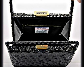 Vintage Handbag, Vintage Box Purse, Vintage Wicker Handbag, Vintage Wicker Purse, Vintage Pocketbook, Vintage Black Wicker Handbag