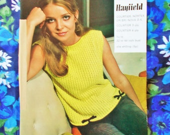 """Vintage Emu Knitting Pattern - 1970's - Pattern no. 817 - Lady's lacy top with Fashion Bows - Bust 32"""" to 44"""" - used"""