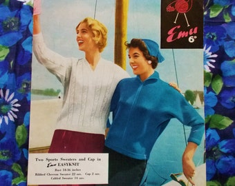 Vintage Emu Knitting Pattern - 1950's - Pattern no. 94 - Two Lady's Sports Sweaters & Cap - used