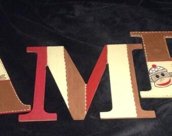 Sock Monkey themed  letters