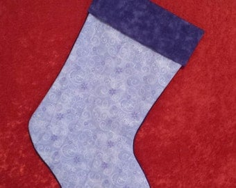 Lavender With Sparkles Christmas Stocking with Moda Purple Cuff