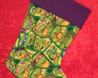 Ninja Turtles Collage Christmas Stocking With A Purple Cuff