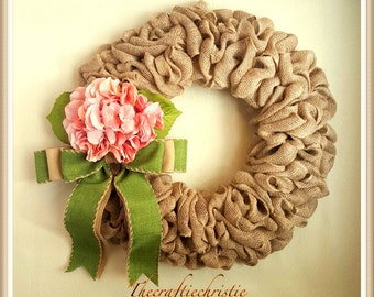 Housewarming Gift-Hydrangea Spring Wreath-Front Door Spring Wreath-Front Door Wreath-Hydrangea Wreath-Everyday Wreath-Burlap Spring Wreath