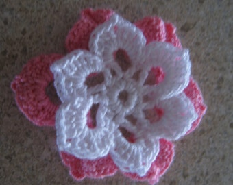 Handmade Crochet Flower Applique 2 Layer White & Pink