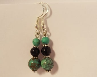 Natural Turquoise and Black Onyx Sterling Silver Earrings!