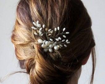 Wedding hairpiece, bridesmaids hairpiece, bridal hair comb, bridesmaid accessory, pearl hairpiece, floral headpiece, boho wedding comb