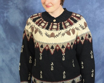 Vintage Nordic Sweater // Folk Sweater // Winter // Nature // Pine // Pullover