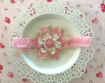 Pale pink and coffee coloured soft headband