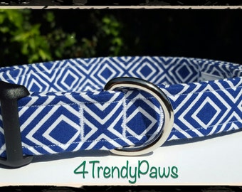 Blue Diamonds Collar, Blue Collar, Boy Dog Collar, Small Dog Collar, Large Dog Collar