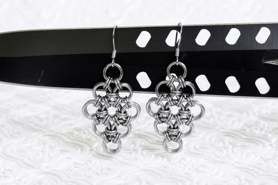 Stainless Steel - Japanese 12 in 2 - Chainmaille Earrings - Gothic Chain Earrings - Viking Armor Maille Earrings - Silver Chainmail Earrings