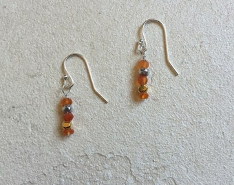 Carnelian Karen Hill Tribe Vermeil Gold and Sterling Silver Dangle Earrings, Sundance Style, Birthday Gifts, Boho earrings Mother's Day Gift
