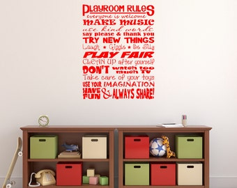Playroom Rules Vinyl Wall Decal Sticker for your playroom