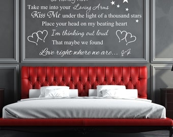 Ed Sheeran So Honey Now Take Me Into Your Loving Arms Lyrics Vinyl Wall Decal Sticker for Ed Sheeran fans