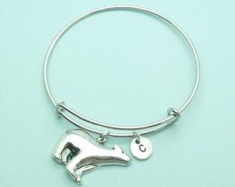 Polar bear charm bangle bracelet, Polar bear personalised initial bangle, letter, personalised charm, Polar bear jewellery, gift, monogram