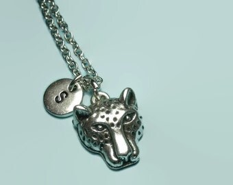 Leopard necklace, cheetah necklace, personalised initial necklace, custom letter necklace, leopard jewellery, leopard charm