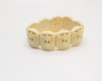 Art Deco Ivery Celluloid Expansion Bracelet