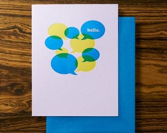 Say Hello - Cute Letterpress Stationery Card