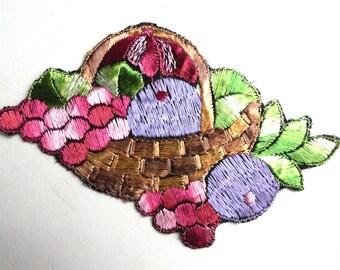 Fruit patch, Fruit basket applique, 1930s vintage embroidered applique. Vintage patch, sewing supply. #641G86K16