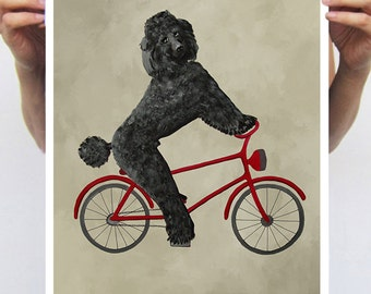 Poodle painting, print from original painting by Coco de Paris: Poodle on bicycle