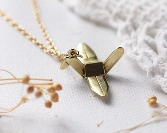 Modern Golden Origami Bird Charm Necklace