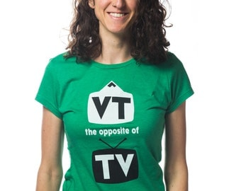 Women's VT the opposite of TV, VT gift,  grass green fashion tee